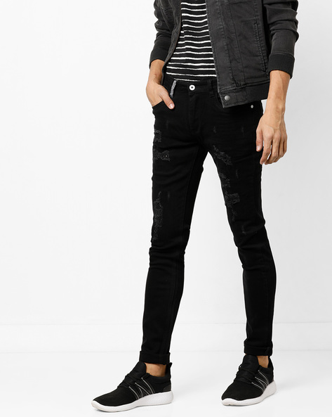 Mid-Rise Slim Distressed Jeans By RexStraut JEANS ( Clearblack )