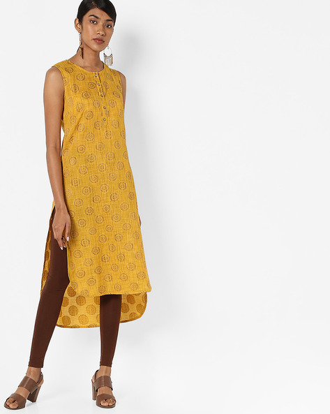 Printed High-Low Straight Kurta By AJIO ( Yellow )