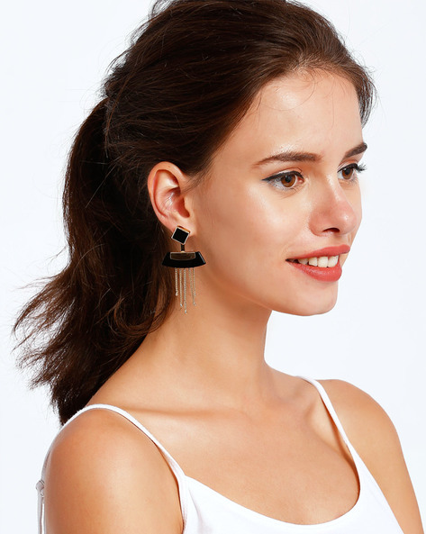 Gold-Plated Drop-Earrings With Tassels By Ssoul ( Black ) - 460008497001