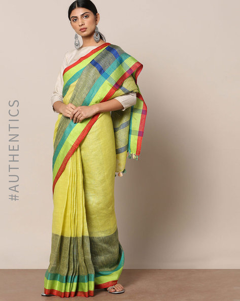 Handloom Pure Linen Saree With Contrast Border By Indie Picks ( Blue )