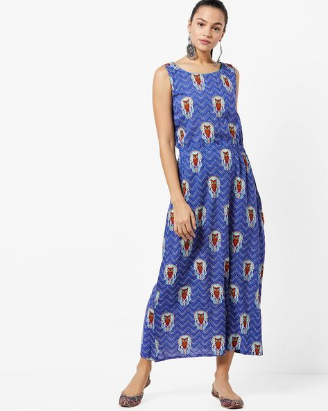 Chevron Print Maxi Dress By UNTUNG ( Blue )