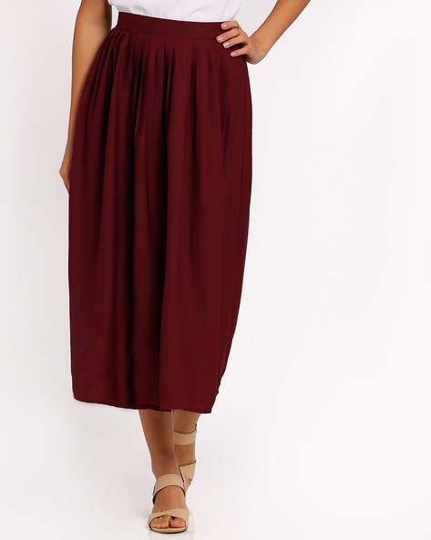 Pleated Midi Skirt By Oxolloxo ( Red )