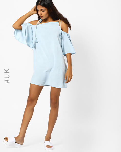 Cold-Shoulder Shift Dress With Tie-Up Sleeves By INFLUENCE ( White )