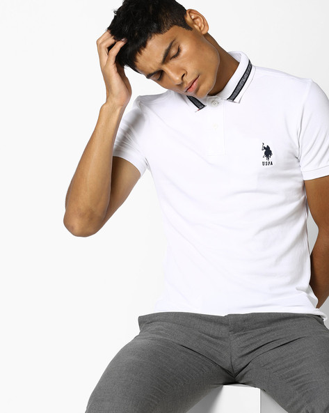 Polo T-shirt With Vented Hem By US POLO ( White )