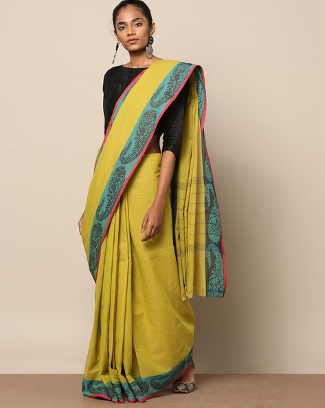Kanchi Cotton Saree With Woven Border By Indie Picks ( Green ) - 460164729001