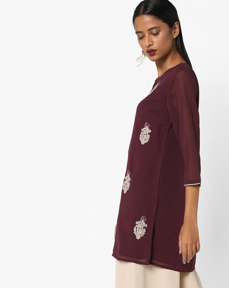 Georgette Tunic With Embroidery By AJIO ( Wine )