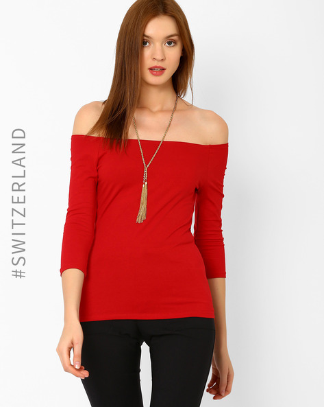 Off-Shoulder T-shirt By TALLY WEiJL ( Red )