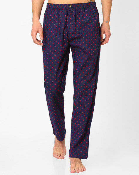 Printed Pyjamas With Elasticated Waist By Playboy ( Navyblue )