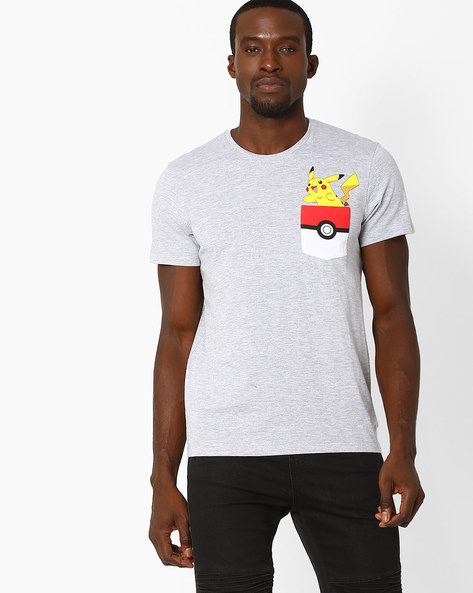 Pokeman Print Crew-Neck T-shirt By Free Authority ( Black )