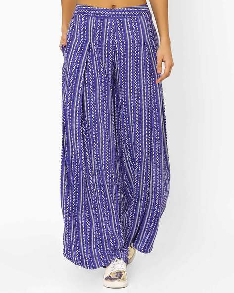 Printed Palazzo Pants By Vajor ( Blue )