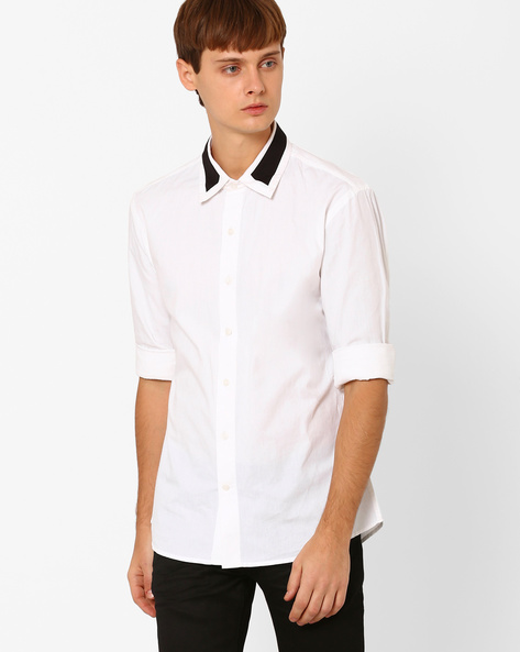 Slim Fit Shirt With Contrast Collar By ANTIFERRO ( White )