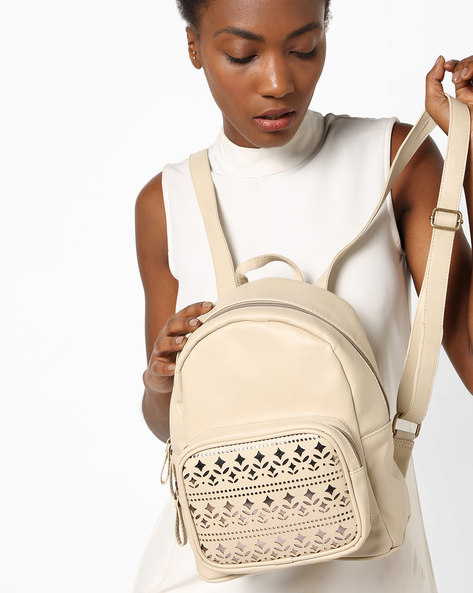 Textured Backpack With Laser-Cut Detailing By Kanvas Katha ( Beige )