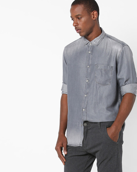 Lightly Washed Slim Fit Shirt By BASICS ( Darkgrey )