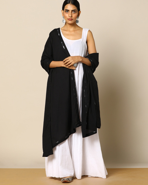 Mull Dupatta With Printed Border By Project Eve IW Evening ( Black )