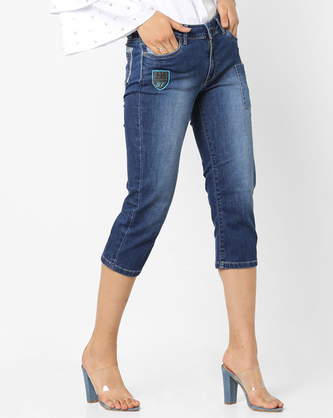 Skinny Fit Cropped Jeans With Patches By Pepe Jeans ( Blue )