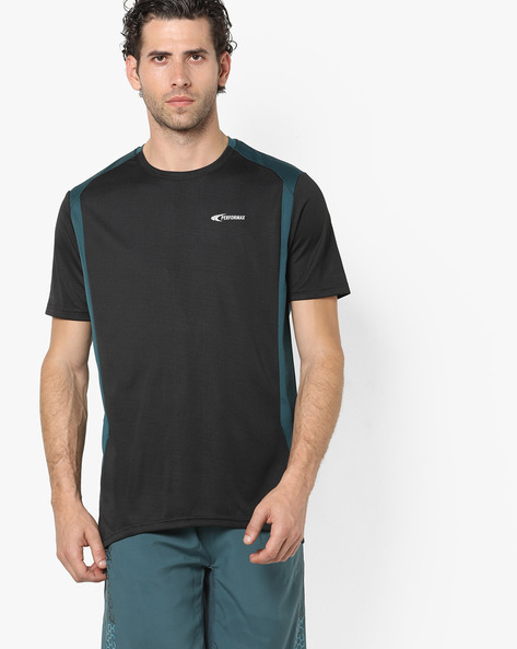 QuickDry Training T-shirt With Contrast Panels By PERFORMAX ( Black )