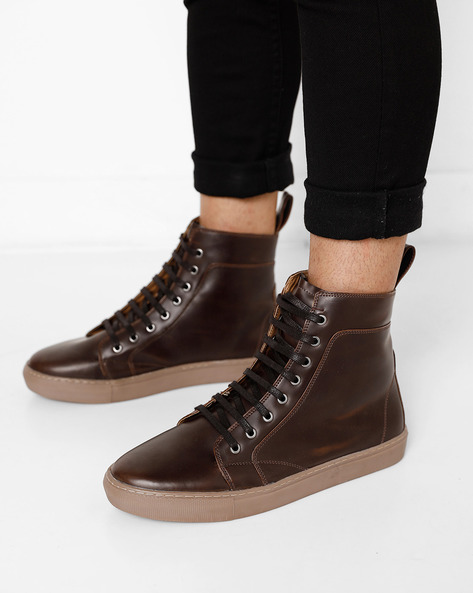 High-Top Lace-Up Sneakers By AJIO ( Darkbrown )