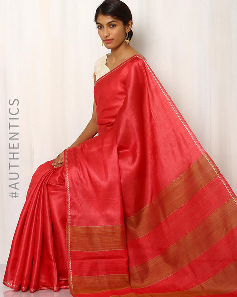 Handwoven Pure Tussar Ghicha Silk Saree By Indie Picks ( Red )