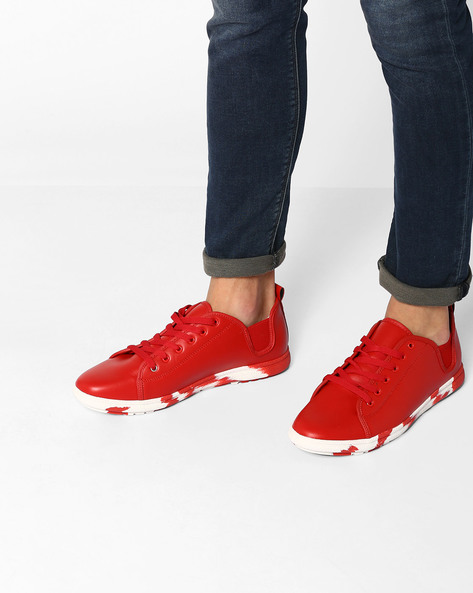 Lace-Up Sneakers With Elasticated Gussets By Muddman ( Red )