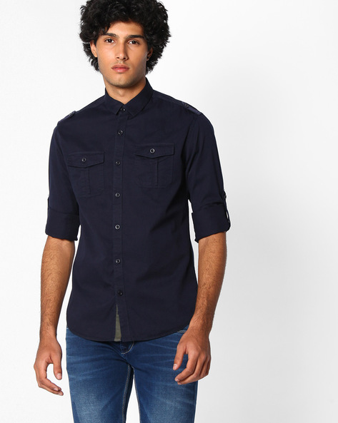 Slim Fit Shirt With Shoulder Tabs By The Indian Garage Co ( Navy )