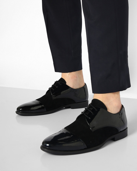 Faux Leather N9-Treated Lace-Up Shoes By AJIO ( Black )