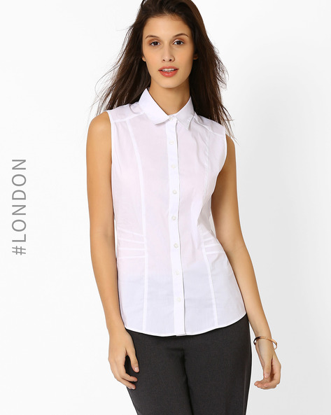 Sleeveless Shirt With Panels By Marks & Spencer ( White )