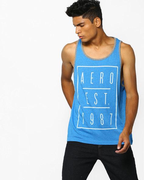 Typographic Print Fashion Vest By Aeropostale ( Blue )