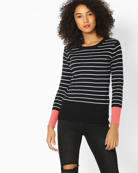 Striped Pullover With Contrast Sleeve Hems By Teamspirit ( Black )