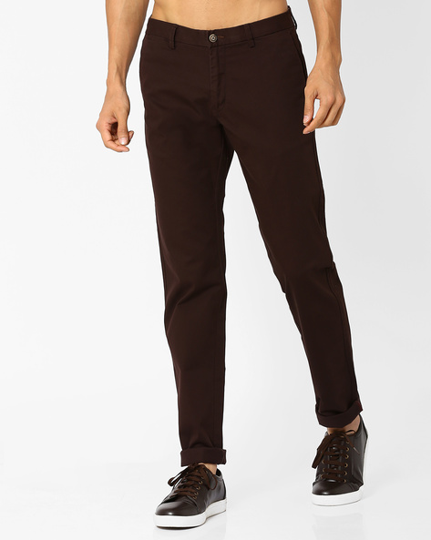 Tapered Fit Chino Trousers By BASICS ( Brown )