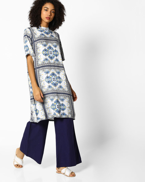 Floral Print Shift Dress By PE WW Casual ( Blue )