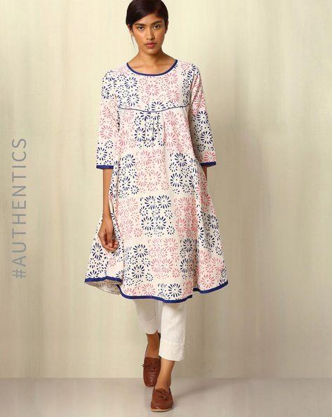 Handblock Print Khadi Tunic By Ek Taara ( White )