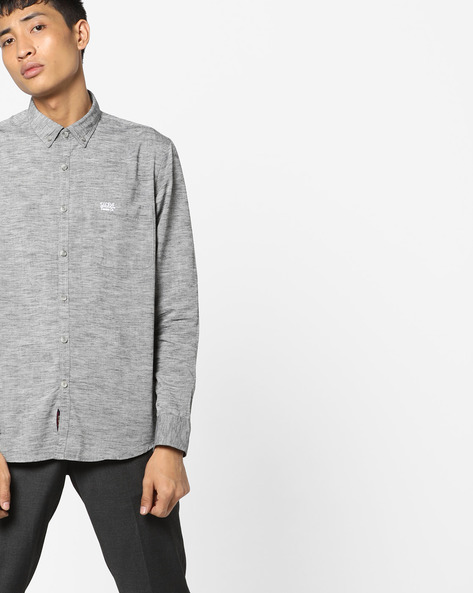 Heathered Slim Fit Shirt By US POLO ( Grey )