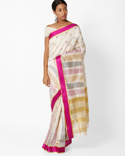 Art Silk Saree By Amori ( Beige )