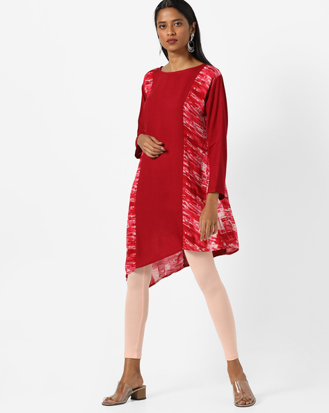 Panelled Print Kurta With Asymmetrical Hem By JASHN ( Maroonburg )