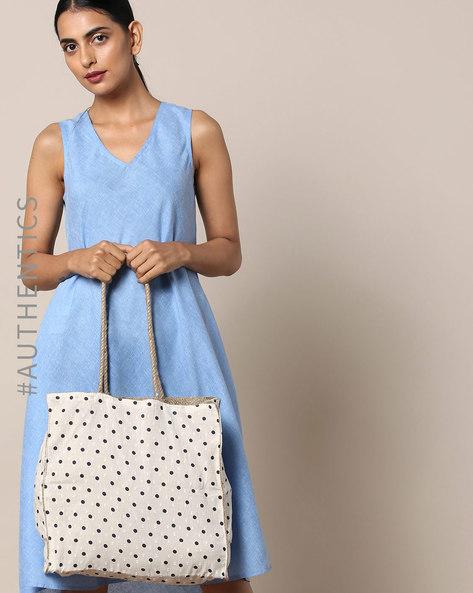 Sanganeri Handblock Print Cotton Jute Tote Bag By Awdhesh Kumar ( Offwhite ) - 460120537001
