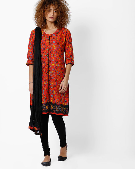 Printed Churidar Kurta With Dupatta By AVAASA SET ( Orange )