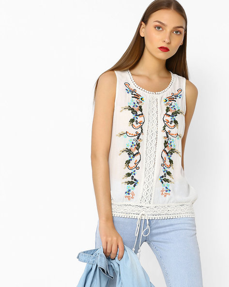 Floral Embroidered Top With Lace Panels By RIO ( White )