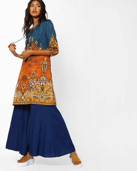 Printed Tunic With Tassel Tie-Up By COLOUR ME ( Multi )