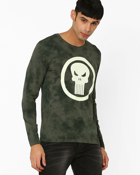 Punisher Print Crew-Neck T-shirt By Free Authority ( Olive )