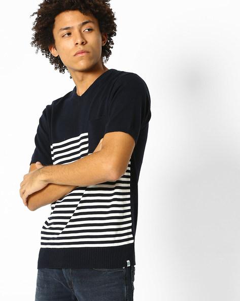 V-neck T-shirt With Ribbed Hems By Teamspirit ( Navy )