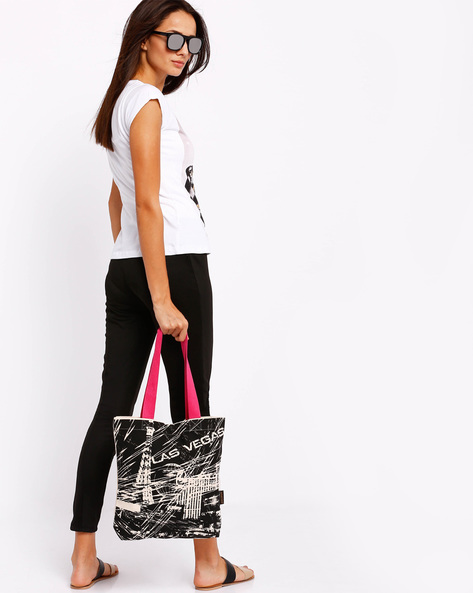 Las Vegas Graphic Print Tote Bag By Kanvas Katha ( Ecru )