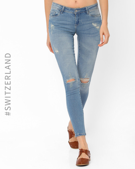 Distressed Ankle-Length Skinny Jeans By TALLY WEiJL ( Lightblue )