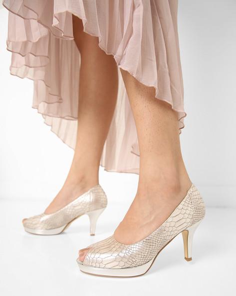 Textured Heeled Peep-Toe Shoes By AJIO ( Silver )