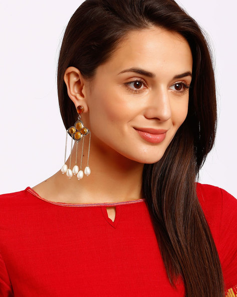 Gold-Plated Drop-Earrings With Tassels By Ssoul ( Yellow )