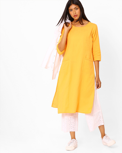Straight Kurta With Insert Pockets By AJIO ( Mustard )