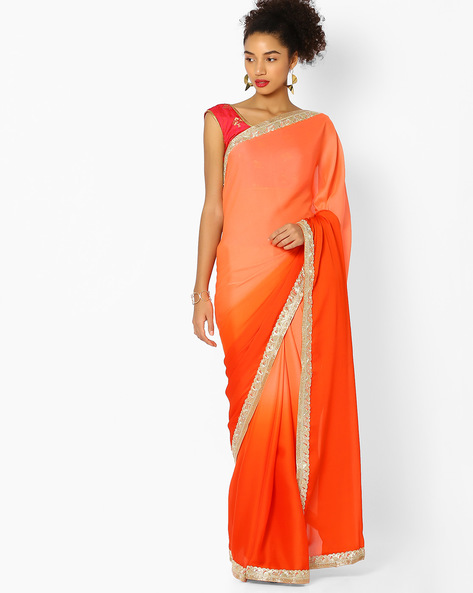 Ombre-Dyed Saree With Contrast Border By Majestic Silk ( Orange )