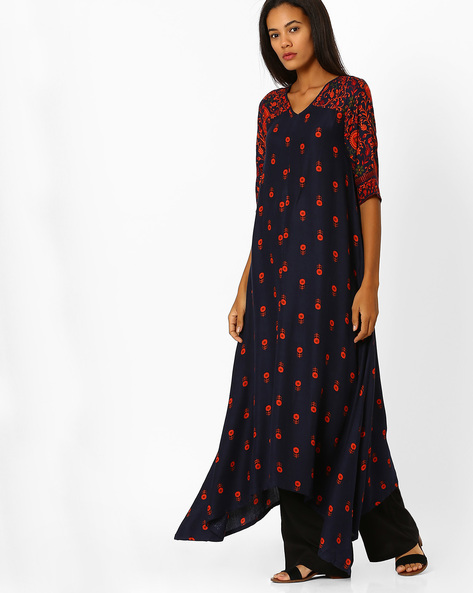 Printed A-line Kurta By Global Desi ( Navy )