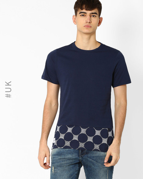 T-shirt With Printed Hemline By Native Youth ( Navy )