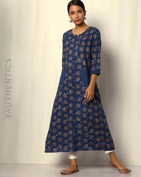 Dabu Handblock Print Indigo Full Placket Cotton Kurta With Gold Khari By SWADESH ( Blue )