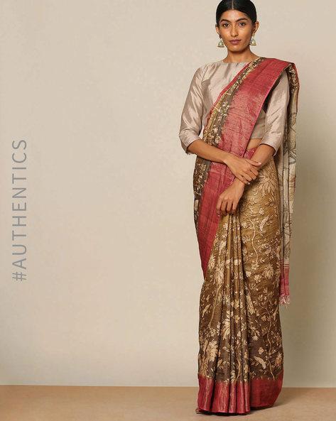 Pure Silk Printed Designer Saree By Rudrakaashe-MSU ( Brown )